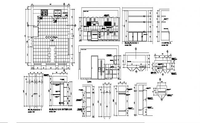Kitchen elevation, section, plan and interior auto-cad