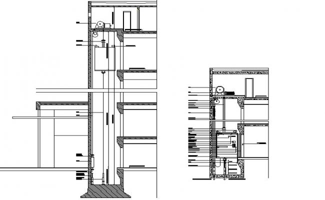 Lift elevator section detail dwg file