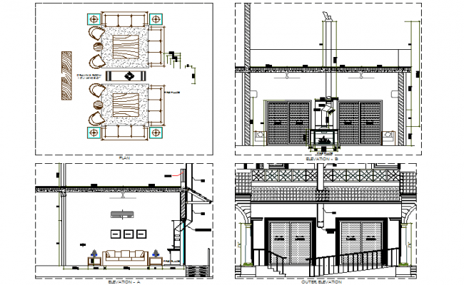 Living room elevation dwg file