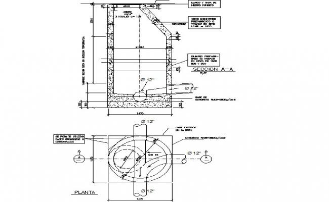 Manhole plan and section detail dwg file