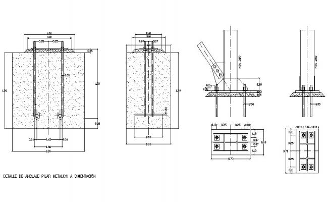 Metallic and concrete pillar construction cad drawing