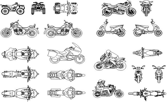 Motor bike 3 D detail dwg file