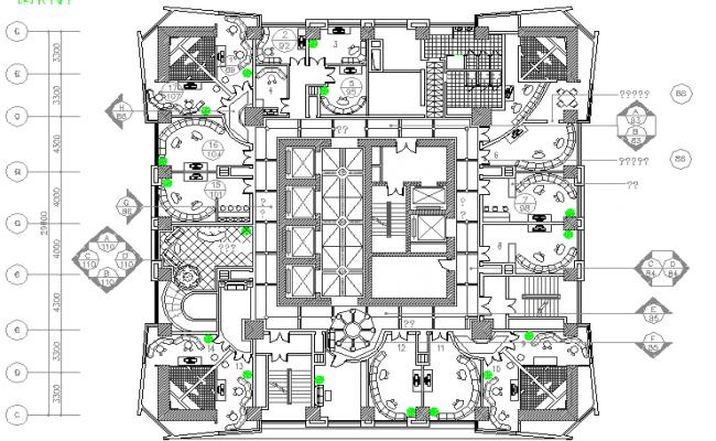 Multi-story office building ground floor plan details dwg file