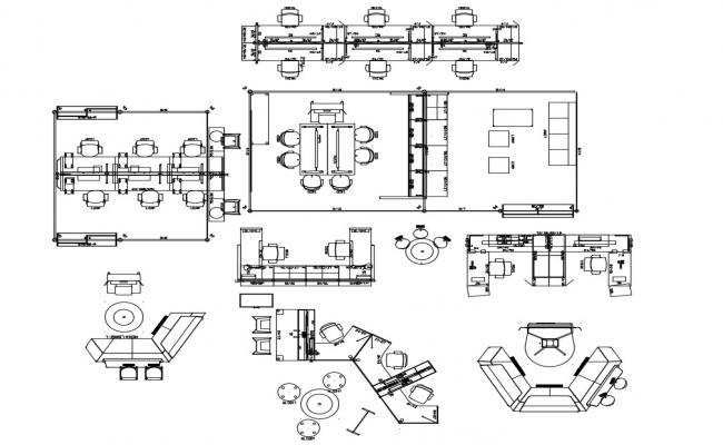 2d view drawings details of table and chair furniture