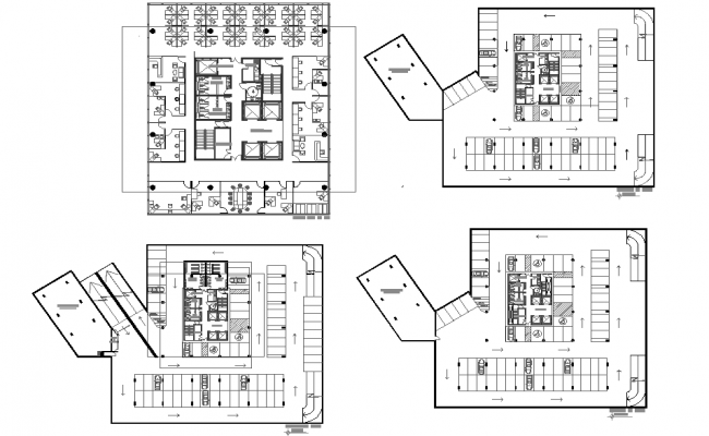 Office building with underground garage for 73 places plan