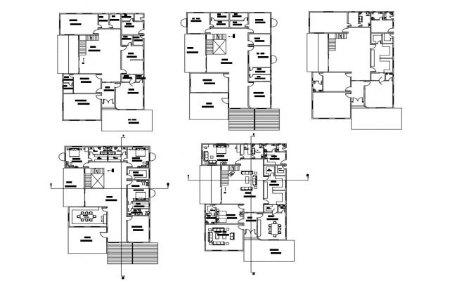 One family residential house floor plan cad drawing