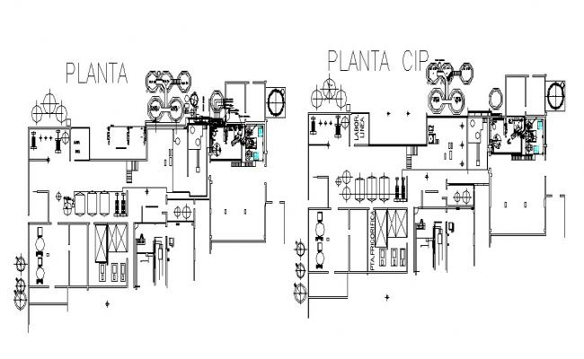 Processing plant floors layout plan cad drawing details