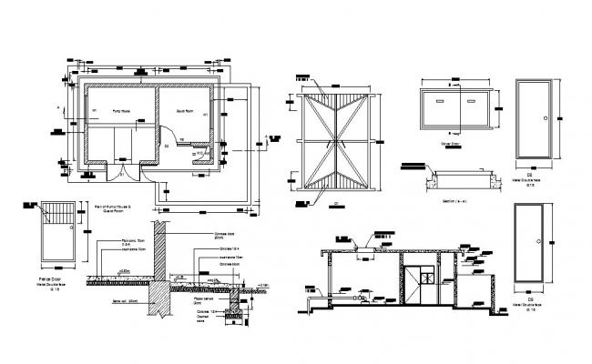 Pump house section, plan, construction and auto-cad