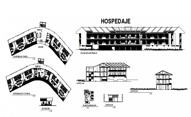 Recreation center hospital elevation, section and floor