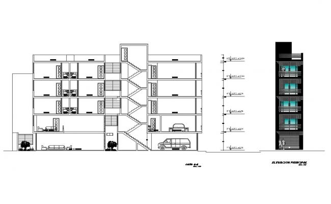 Residential building main elevation and section cad