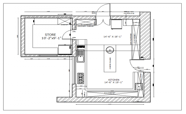 Residential kitchen plan view detail dwg file