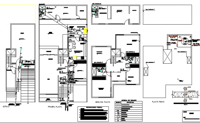 Sanitary and electric installation of house plan dwg file