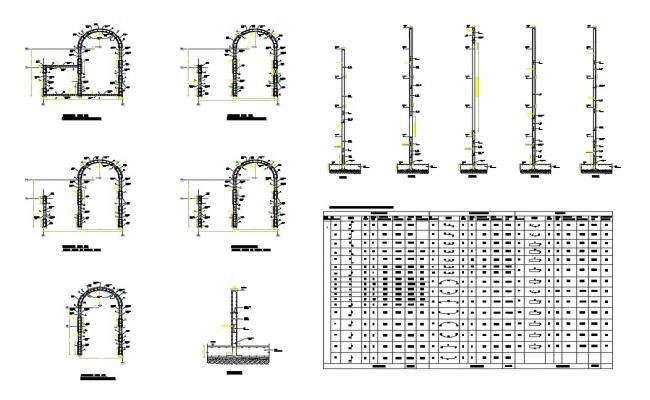 Shear wall section and plan details with all floor framing