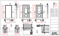 Single door installation details with door elevation dwg file