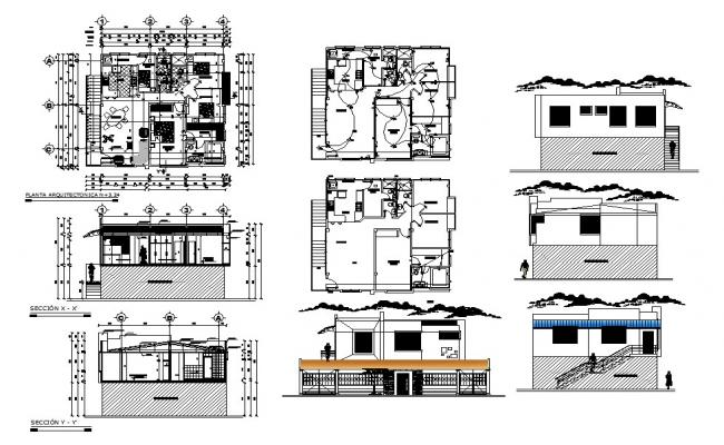 Single family house elevation, section, layout plan