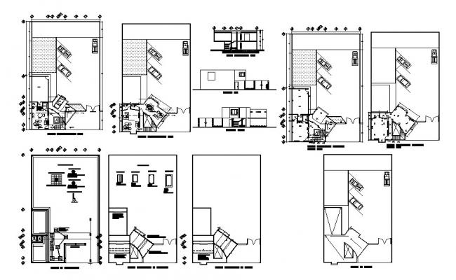 Small corporate office elevation, section, plan and auto
