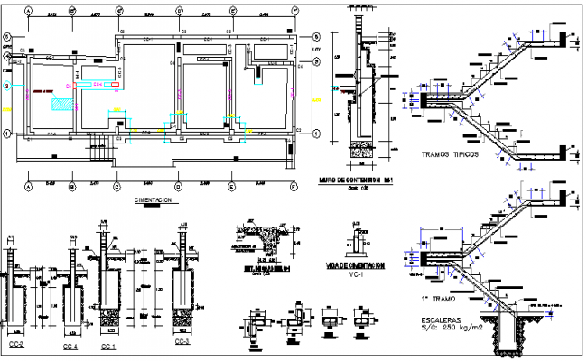 Staircase Construction and Elevation of House Design dwg file