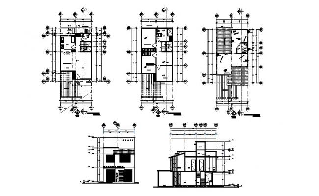 Three story house elevation, section and floor plan cad