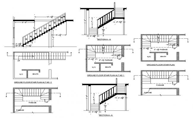 Typical stair construction 2d view CAD structural block