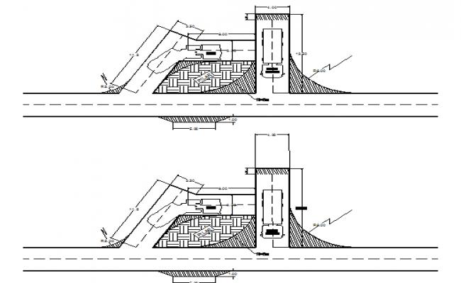 Underground mine loading docks Volvo hauler dwg file