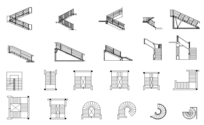 Various types of staircase detail and elevation dwg file