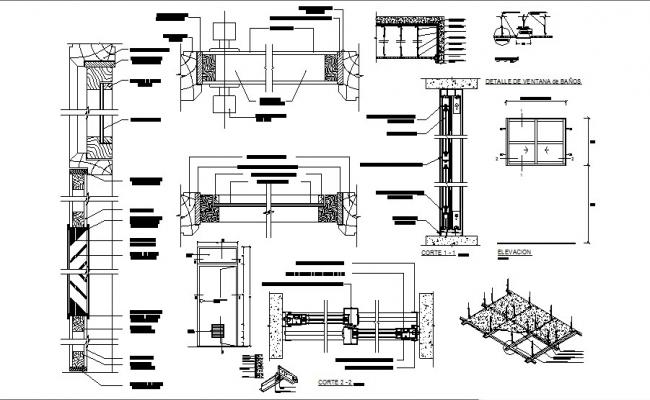 Window and door elevation and installation cad drawing