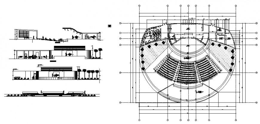 Auditorium hall multi-story floor plan distribution cad
