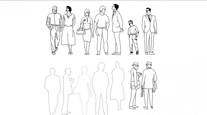 Standing people CAD blocks detail elevation 2d view layout