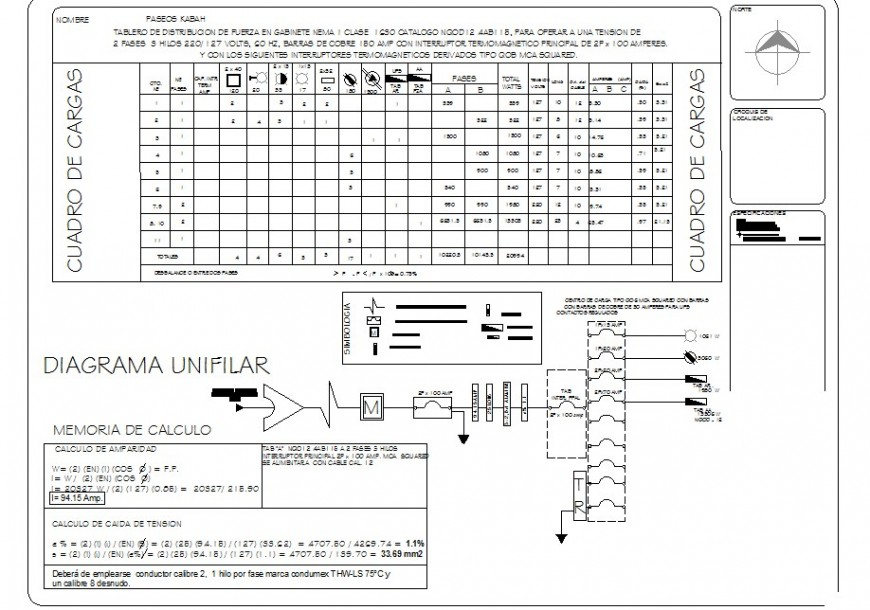 Electrical circuit detail elevation 2d view layout dwg