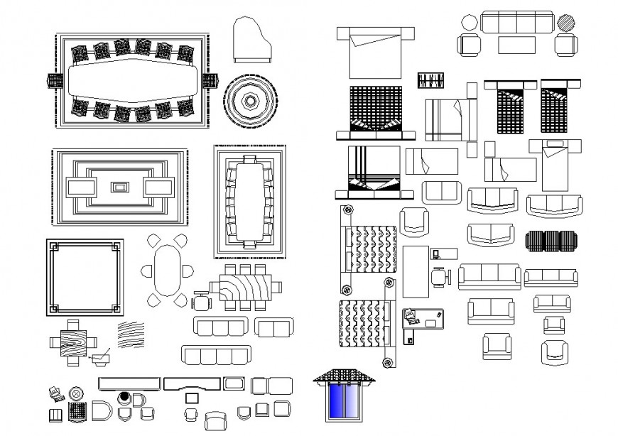 Hospital stretcher bed detail 2d view CAD block layout