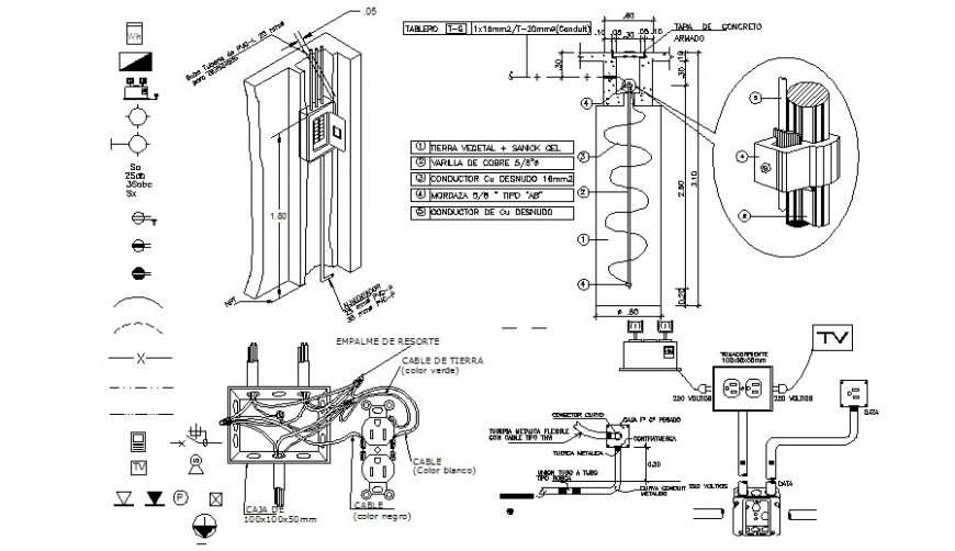 2d cad drawing of power layout electrical autocad file