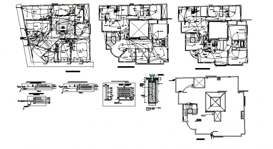 Electrical layout plan details of all floor of residential