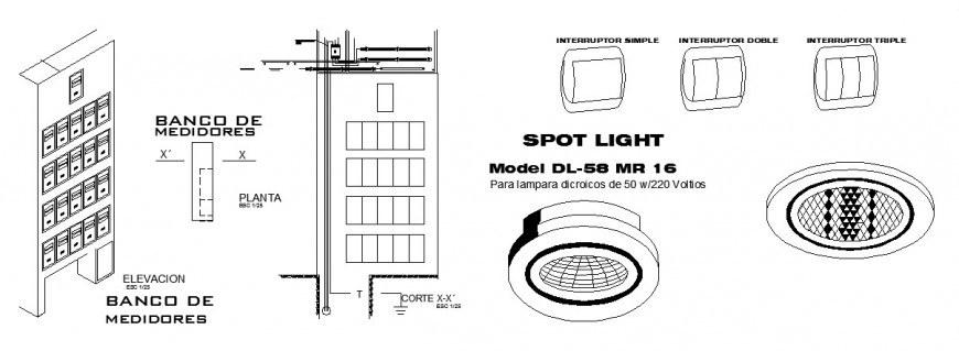 Electrical street light pole drawings detail 2d view
