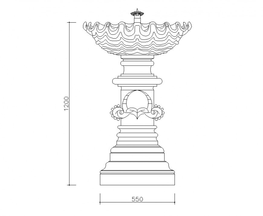 Fountain design 2d view CAD block layout autocad file