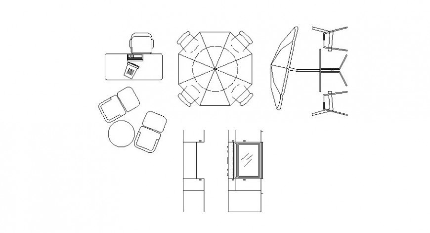 CAD drawings elevation of furniture table and chair dwg