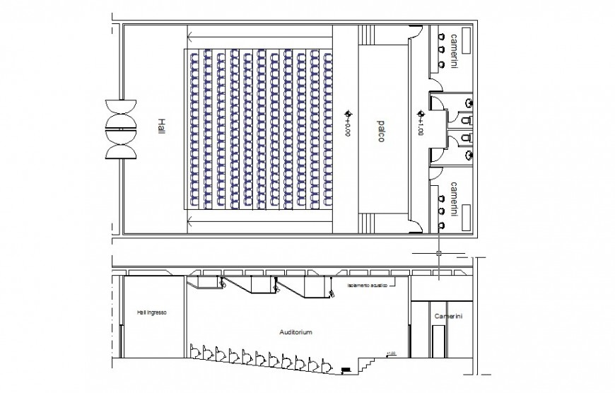 Floor plan drawing of Cinema hall building units 2d view