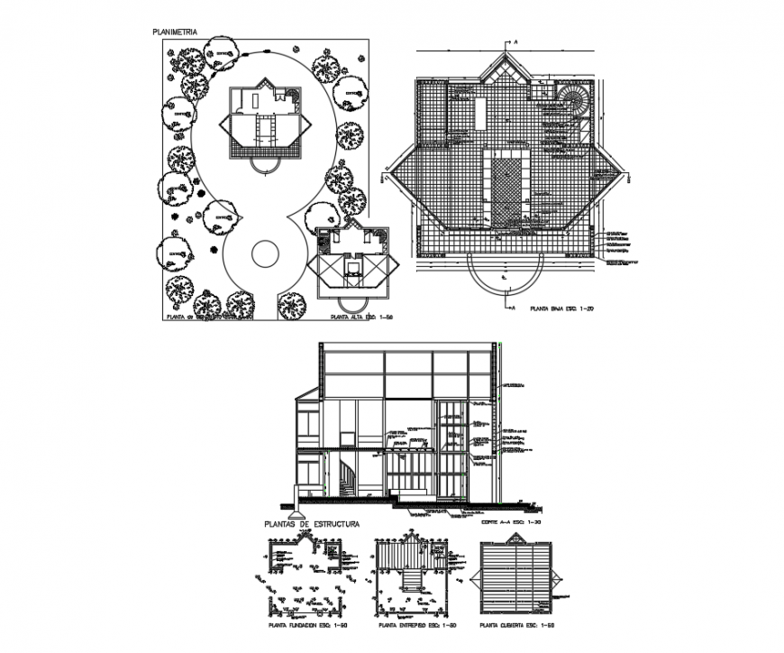 Residential housing structure detail CAD block sketch-up