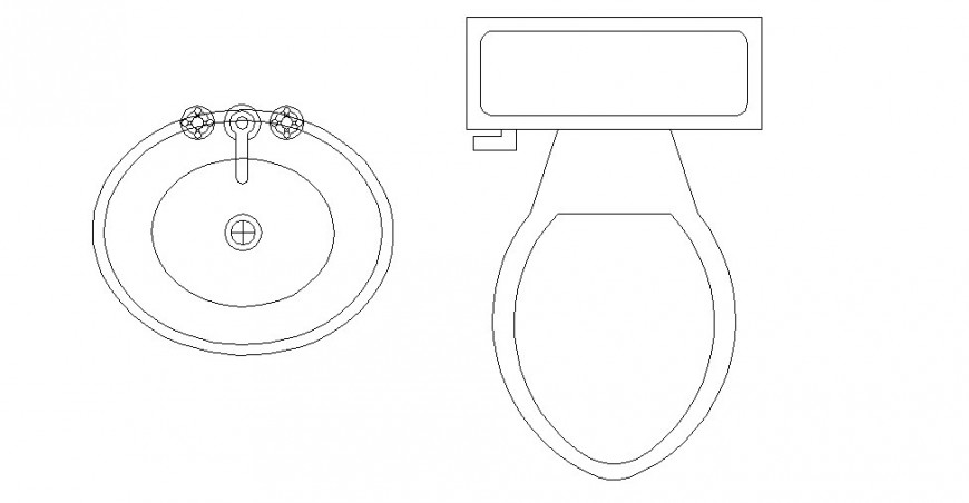 Bathroom elevation details and 2d sanitary models