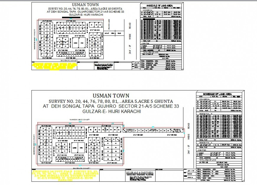 Zonal division blocks details of an area drawings 2d view