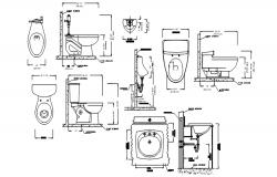 Wash basin elevation autocad block, Wash basin elevation plan