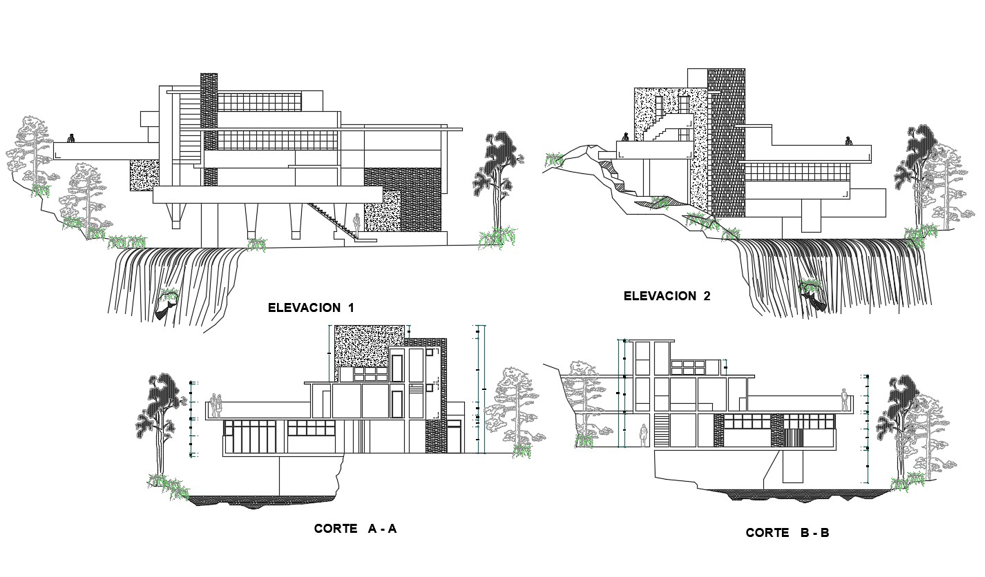 2d Cad Drawing Best Falling In Water House Elevation And