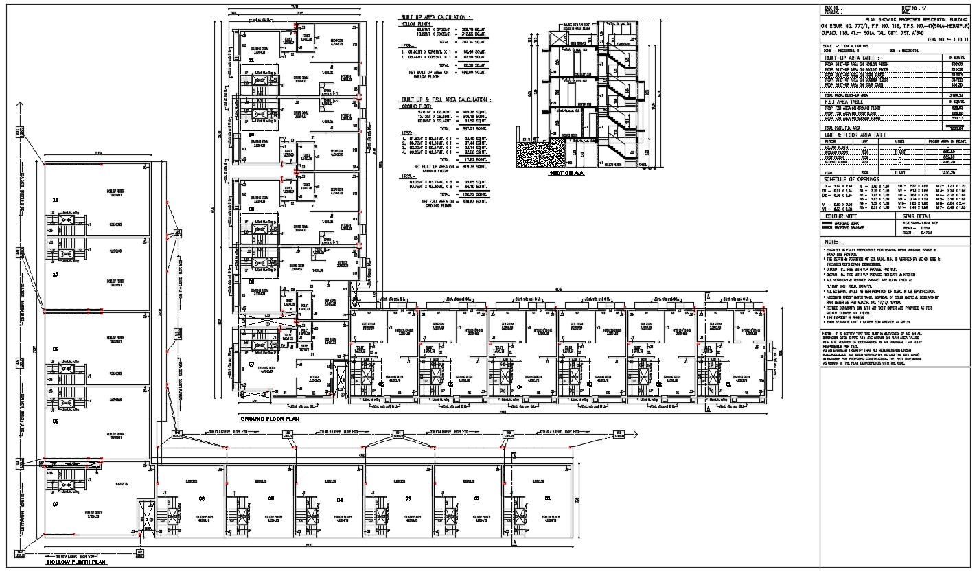 2D CAD Drawing Of Residential Building Submission Plan