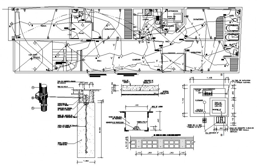 2d cad drawing of floor exterior electrical autocad