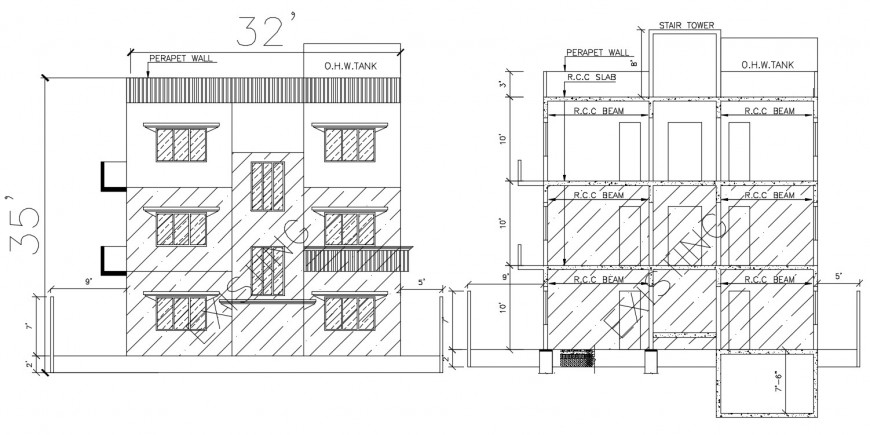 2d cad drawing of stair elevation construction autocad