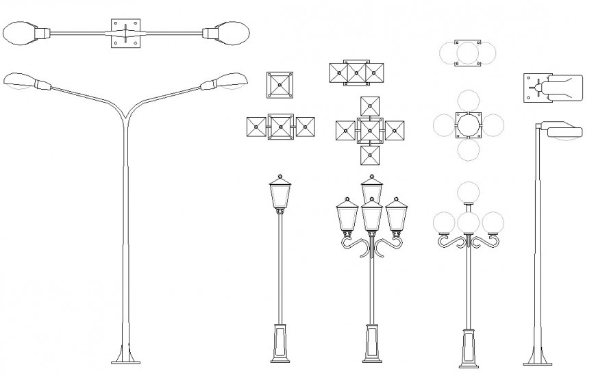 2d model of the illumination light pole CAD electrical