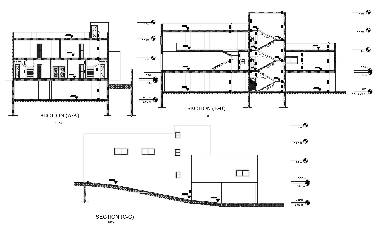 3 Storey House Building Cross Section And Elevation Design