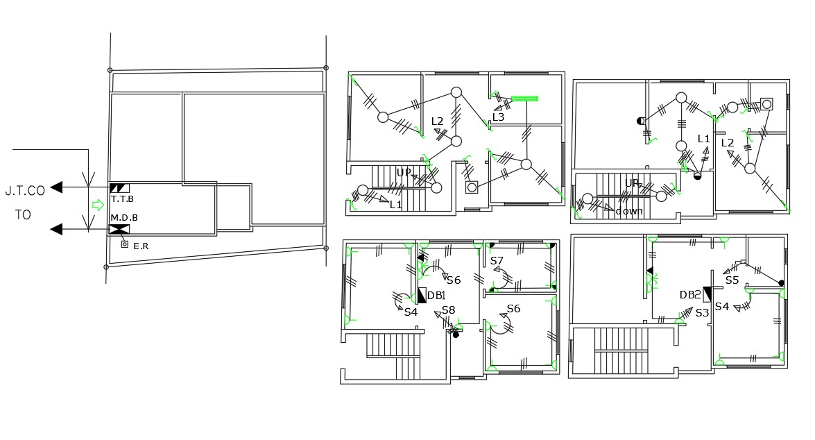 3 BHK House Electrical Layout Plan (640 Sq Ft Plot Size