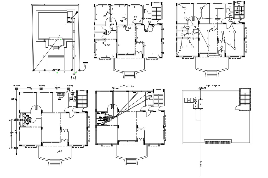 45 X 50 Feet House Electrical And Plumbing Layout Plan