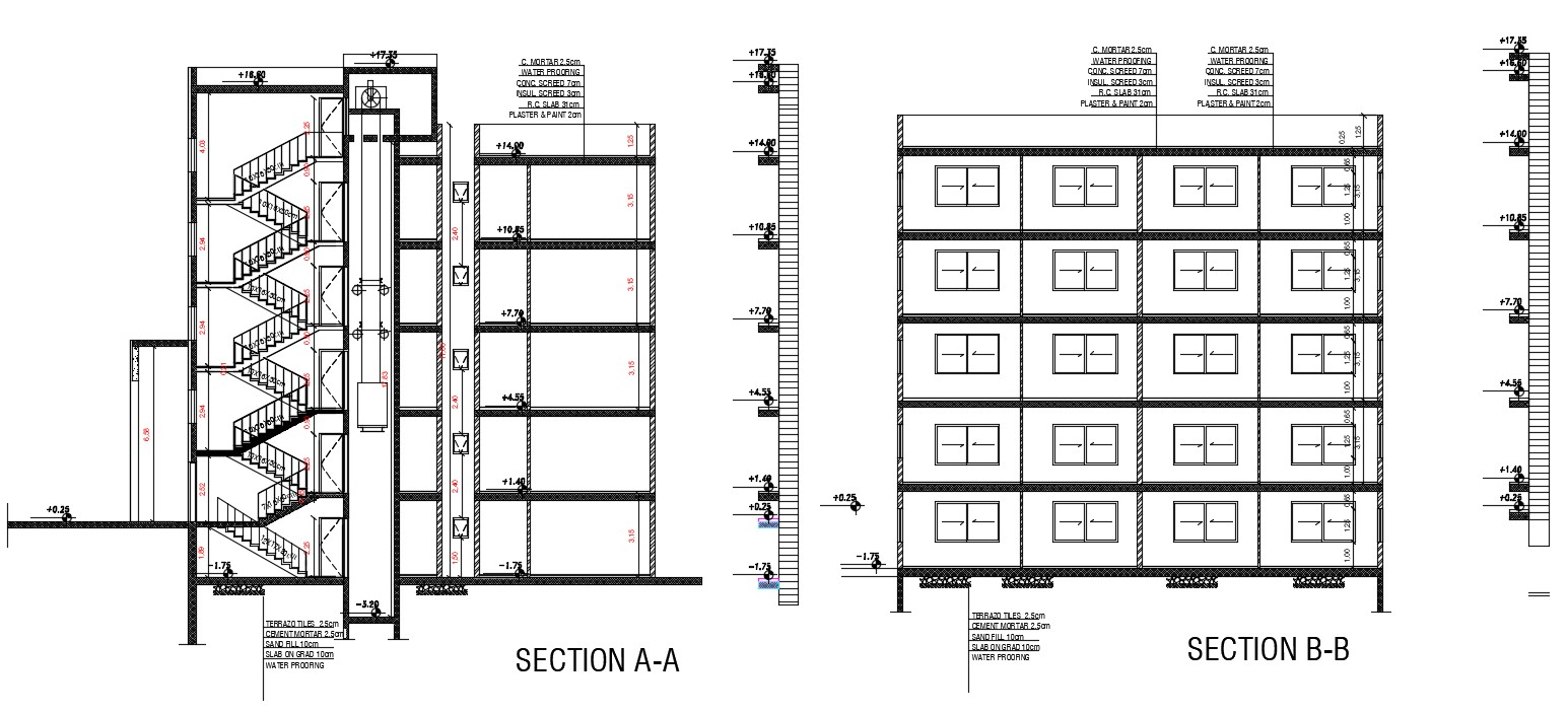 Apartment Building Section drawing With Lift Elevator
