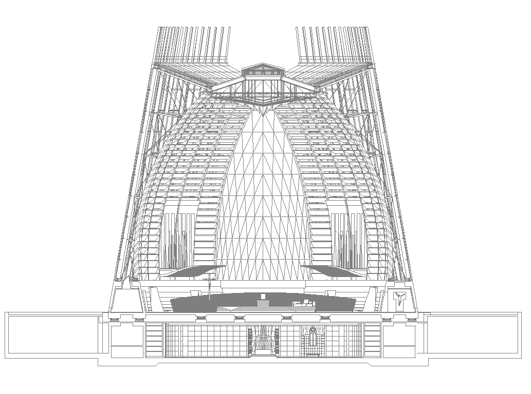 Arch shape commercial building detail elevation 2d view